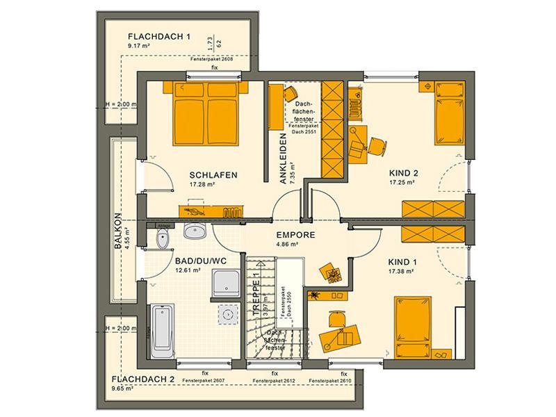 Grundriss Dachgeschoss Entwurf Sunshine 165 V 4 von Living Haus