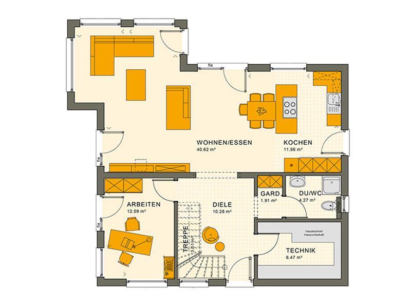 Grundriss Erdgeschoss Entwurf Sunshine 165 V 4 von Living Haus
