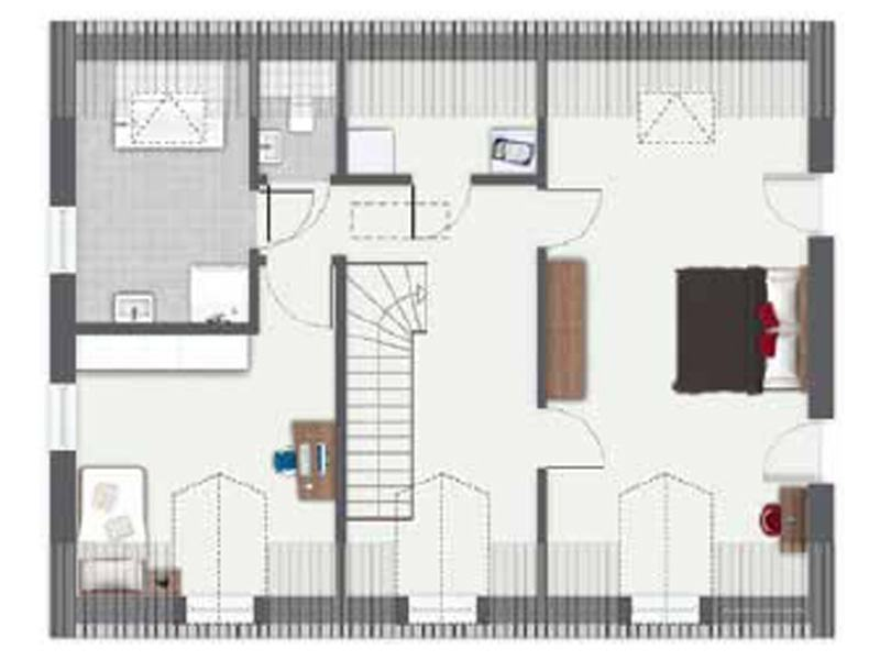 Grundriss Obergeschoss Entwurf Ijsselmeer von Gussek Haus