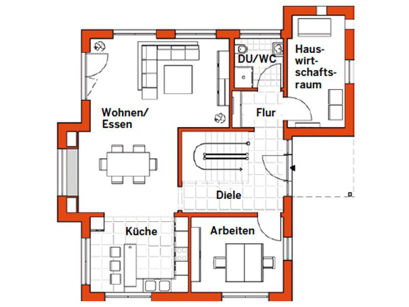 Grundriss Erdgeschoss Musterhaus Günzburg von Fingerhut Haus