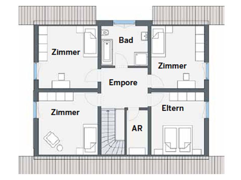 Grundriss Obergeschoss Entwurf Bueeler von Weber Haus