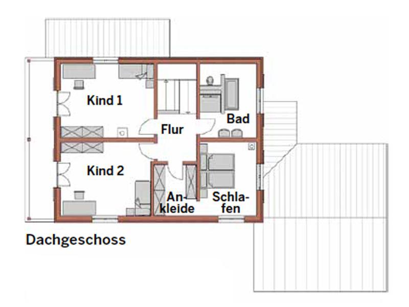 Grundriss Dachgeschoss Entwurf Bad Wiessee von Wolf System