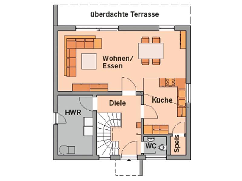 Grundriss Erdgeschoss Entwurf Novum von Kern-Haus