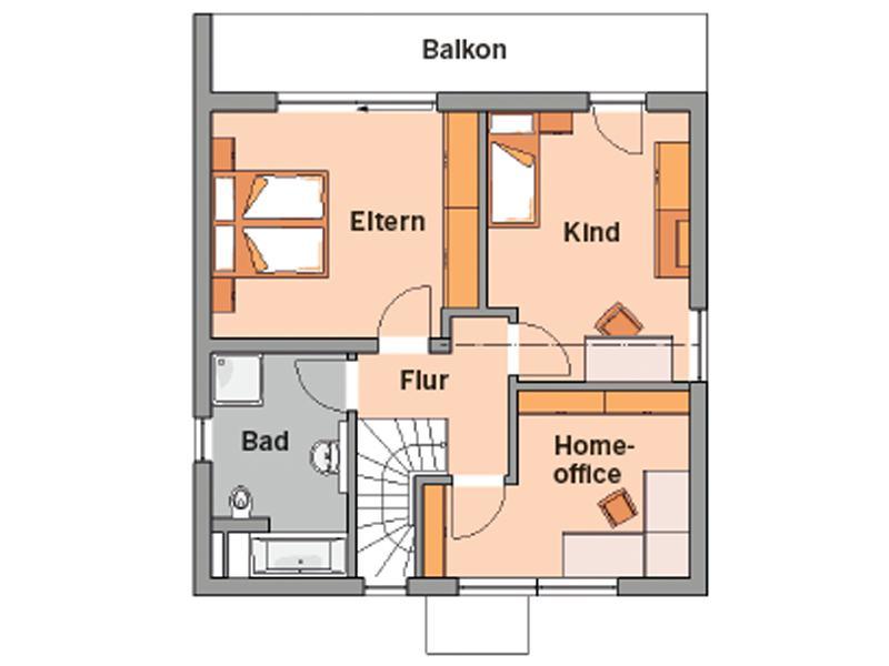 Grundriss Obergeschoss Entwurf Novum von Kern-Haus