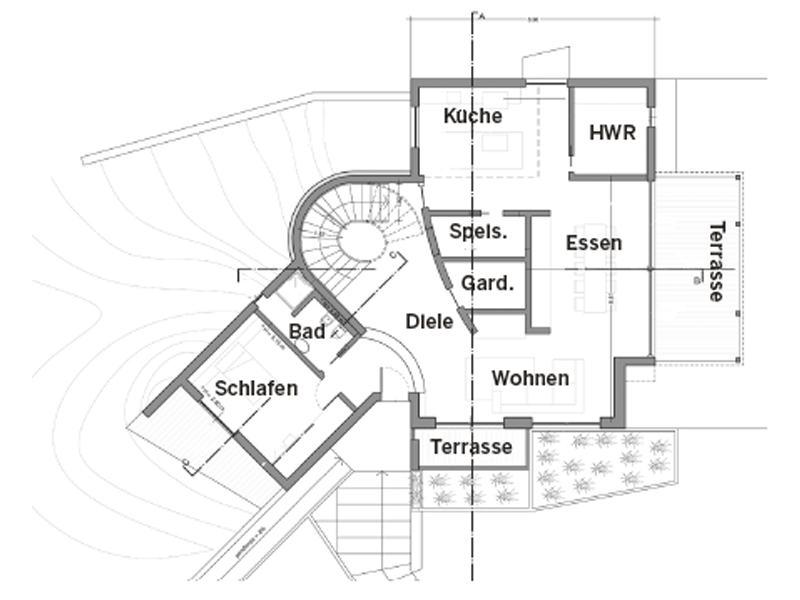 Grundriss Erdgeschoss Entwurf Cipriani von Rubner Haus