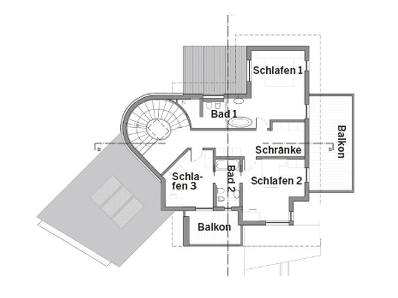 Grundriss Ober geschoss Entwurf Cipriani von Rubner Haus