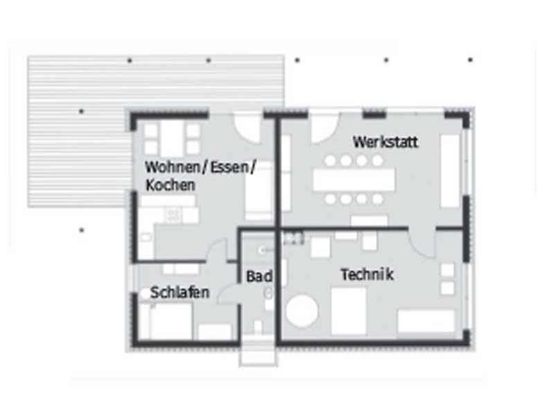 Grundriss Kellergeschoss Entwurf Heimat 4.0 von Baufritz