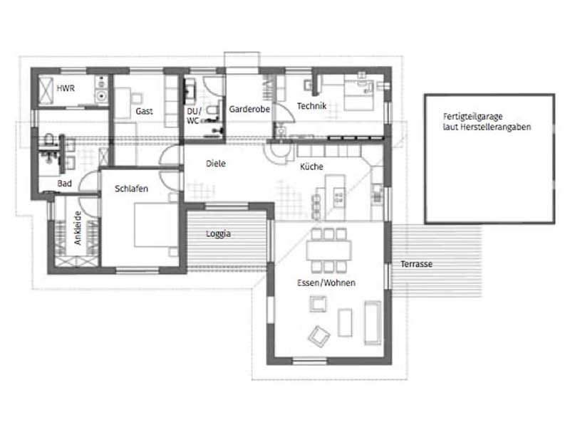 Grundriss Bungalow Pultdach 145 von Luxhaus
