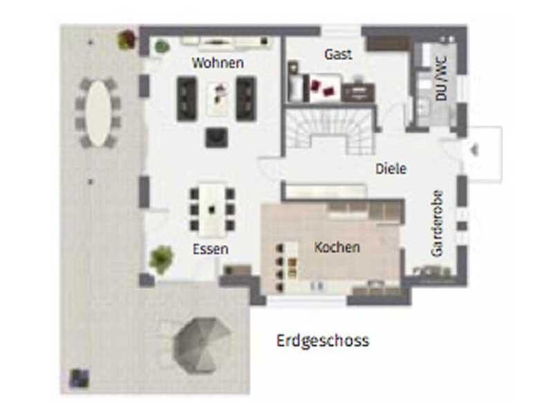 Grundriss Erdgeschoss Ponticelli von Gussek Haus