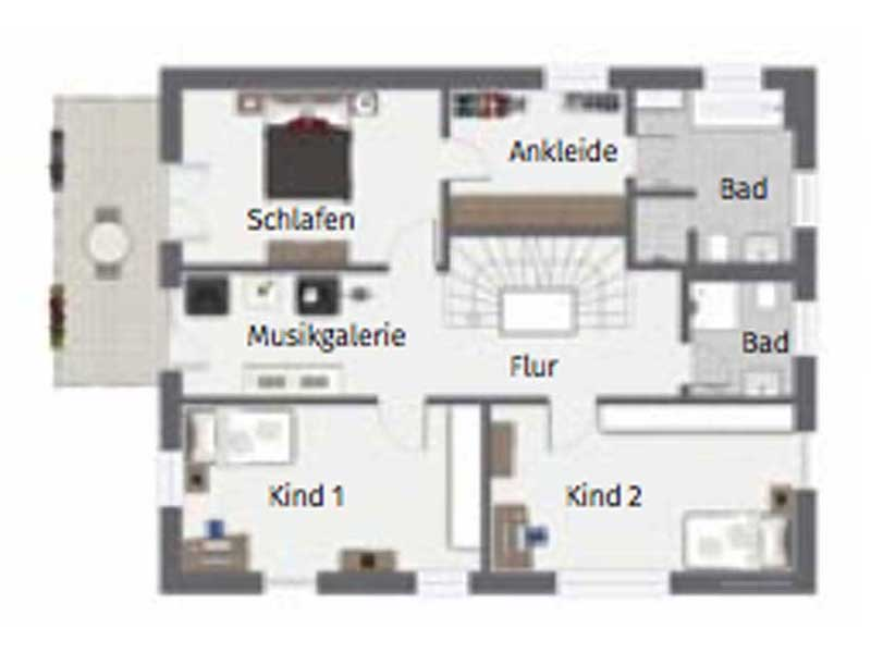 Grundriss Obergeschoss Ponticelli von Gussek Haus