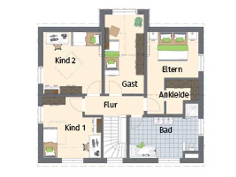 Grundriss Obergeschoss Familienhaus mit Stil von Fingerhaus