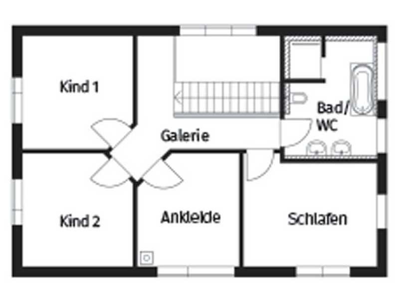 Grundriss Obergeschoss Homestory 264 von Lehner Haus