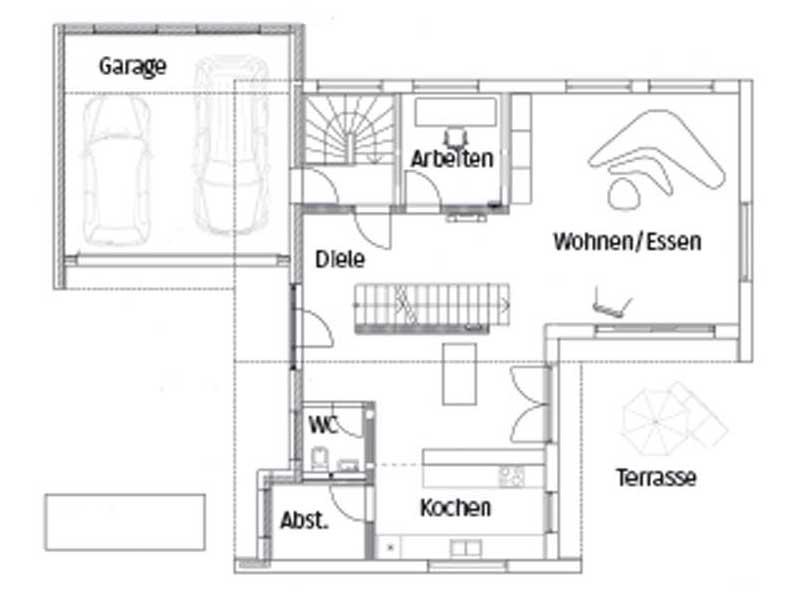 Grundriss Erdgeschoss Pultdach Klassik 157 von Luxhaus