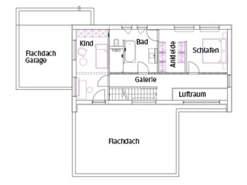 Grundriss Obergeschoss Pultdach Klassik 157 von Luxhaus