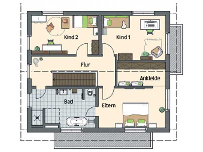 Grundriss Dachgeschoss Entwurf Sento von Fingerhaus