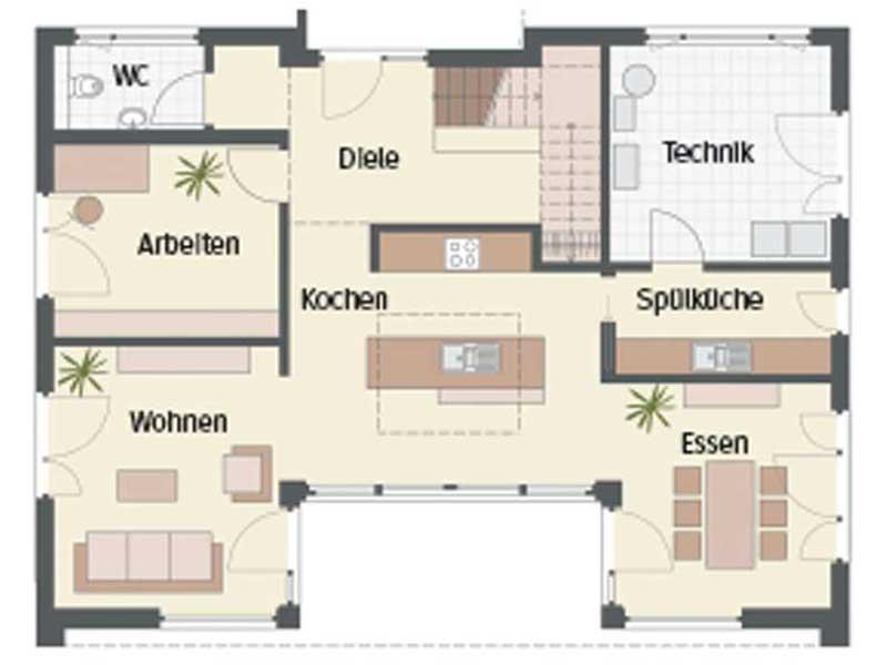 Grundriss Erdgeschoss Haus Bad Vilbel von Keitel Haus