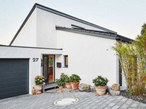 Pultdach modern 102 von Luxhaus Eingansseite