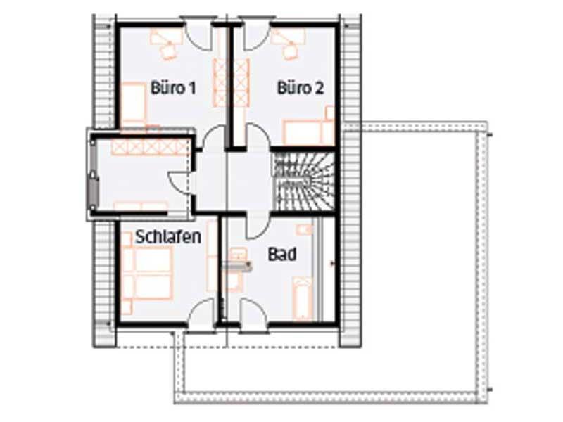 Grundriss Obergeschoss Musterhaus Langenhagen von Okal