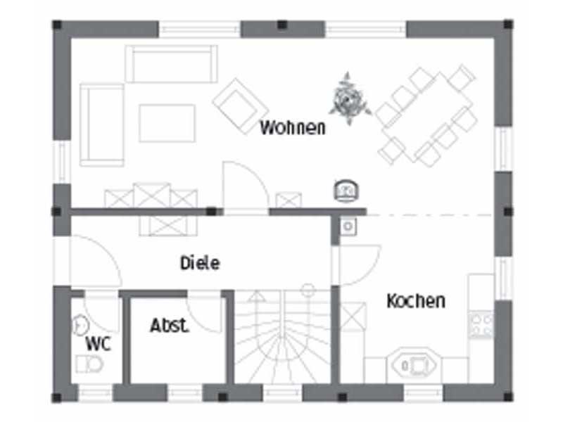 Grundriss Erdgeschoss Entwurf Pro Natura Kompakt von Vöma