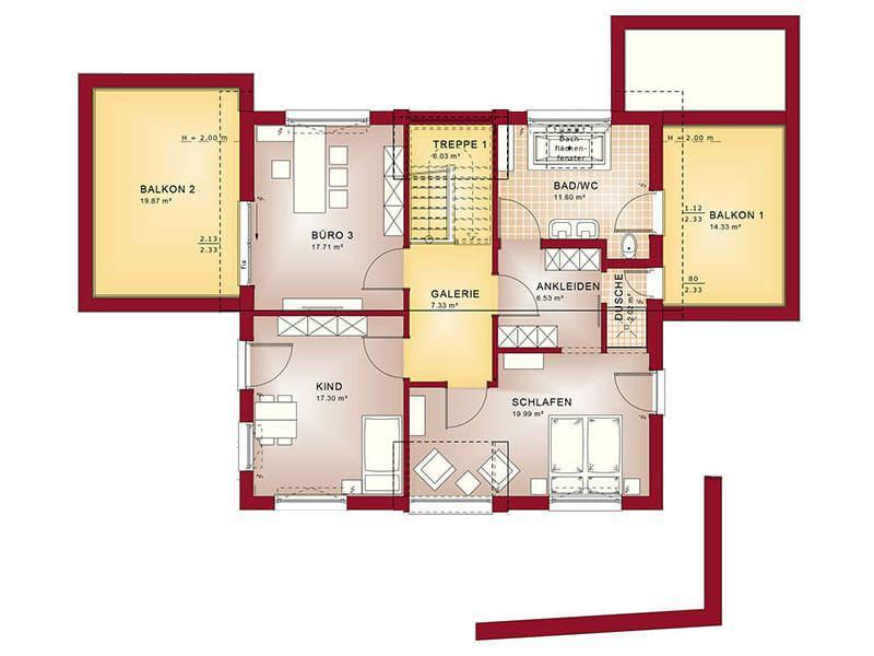 Grundriss Dachgeschoss Entwurf Concept-M 154 von Bien-Zenker