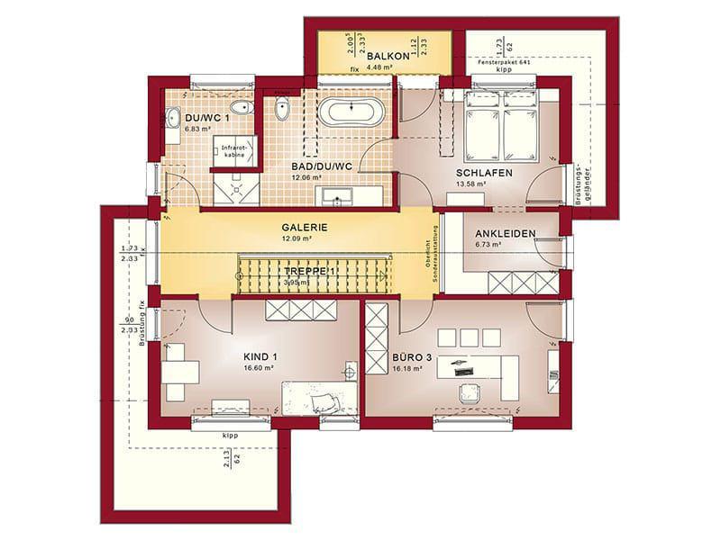 Grundriss Dachgeschoss Entwurf Concept-M 155 von Bien-Zenker