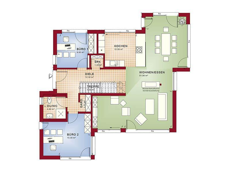 Grundriss Erdgeschoss Entwurf Concept-M 155 von Bien-Zenker