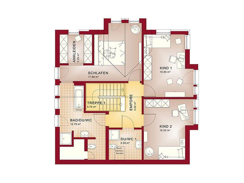 Grundriss Dachgeschoss Fantastic 161 V4 von Bien-Zenker
