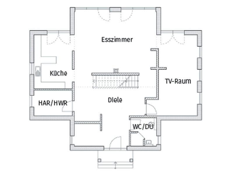 Grundriss Erdgschoss Entwurf Kubus 7 Falkensee von Arge Haus