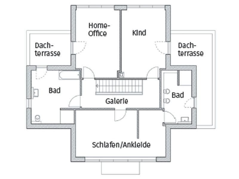 Grundriss Obergschoss Entwurf Kubus 7 Falkensee von Arge Haus