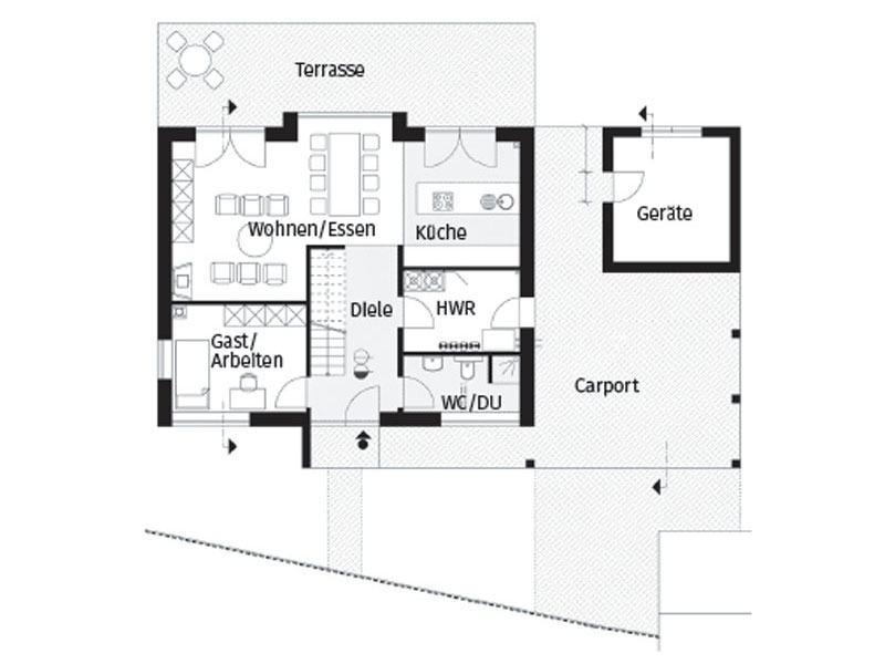 Grundriss Erdgeschoss Hausserie Pfiffige von Arge Haus