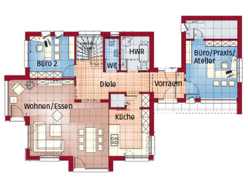 Grundriss Erdgeschoss Concept M 166 Erfurt von Bien-Zenker