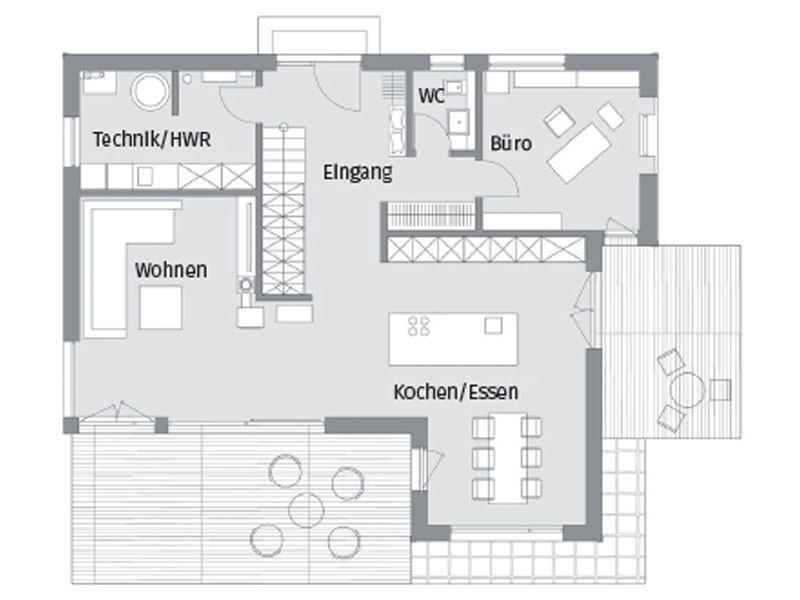 Grundriss Erdgeschoss Kundenhaus Herb Baufritz