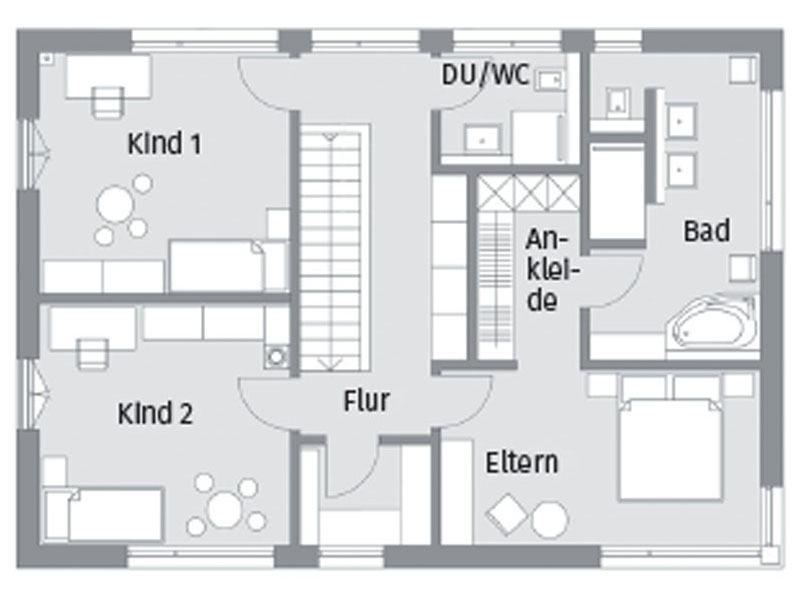 Grundriss Obergeschoss Kundenhaus Herb Baufritz