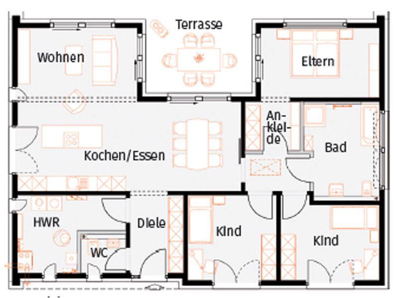 Grundriss Musterhaus Stelle von Okal