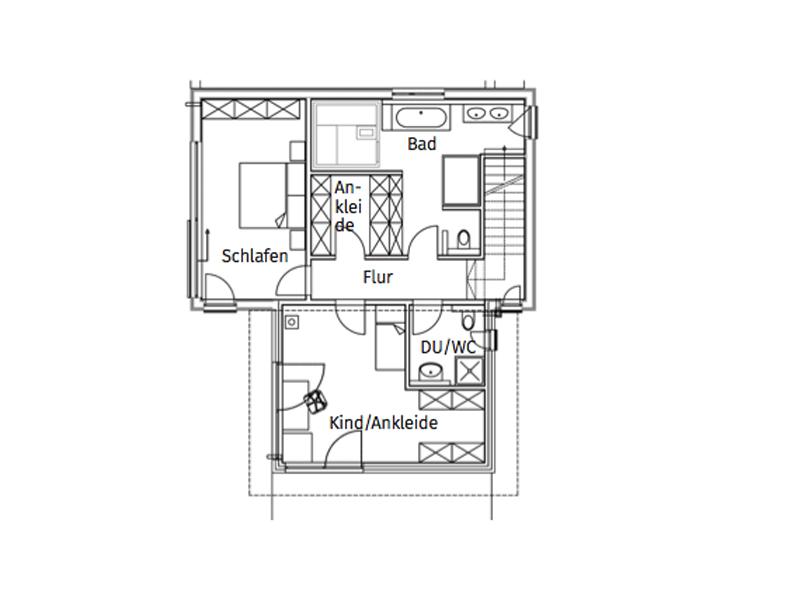 Grundriss Obergeschoss Haus Kornfeld von Sonnleitner