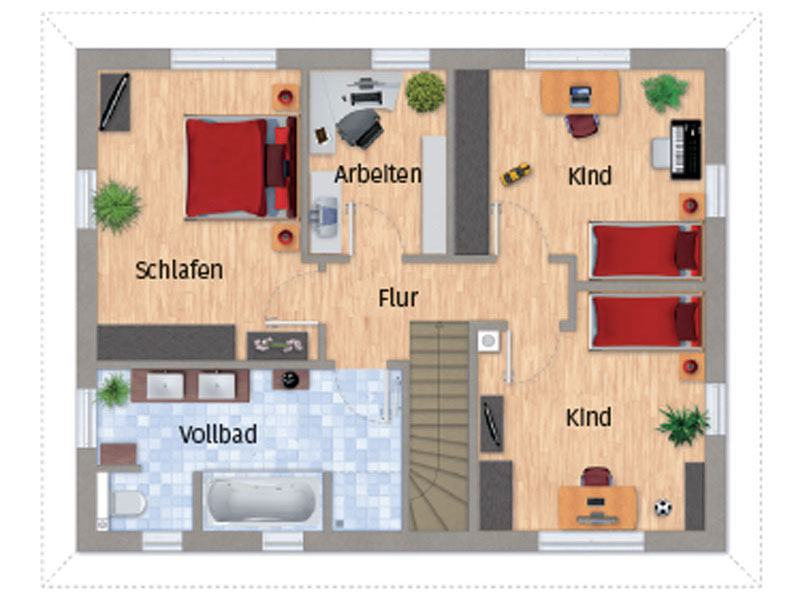 Grundriss Obergeschoss VarioCity 150 von Varioself