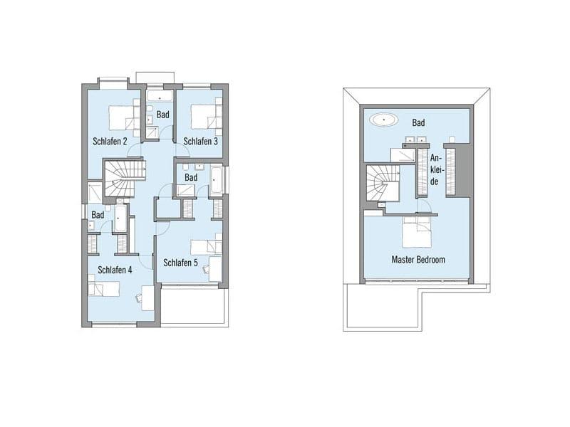 Grundriss Obergeschoss und Dachgeschoss Entwurf Imagine von Baufritz