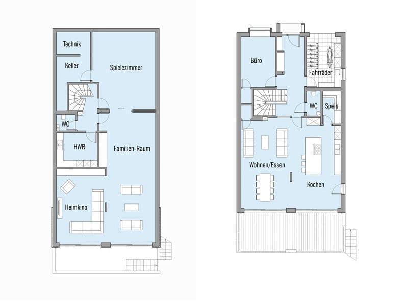 Grundriss Untergeschoss und Erdgeschoss Entwurf Imagine von Baufritz