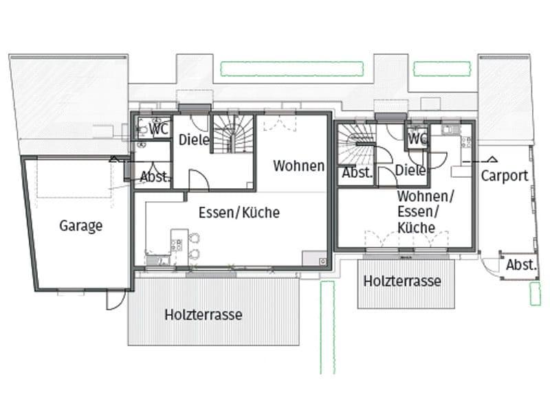 Grundriss Erdgeschoss Entwurf Seyther von Fertighaus Weiss