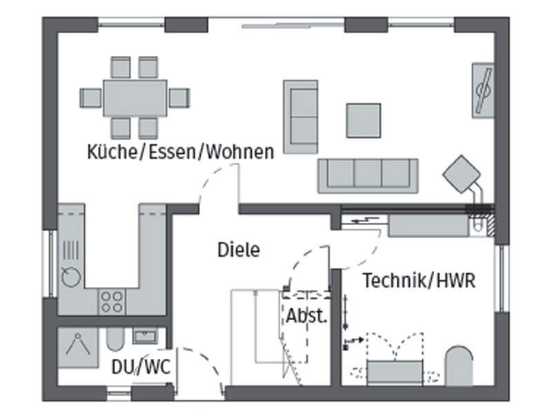 Grundriss Erdgeschoss Entwurf E15-143.26 von Schwörerhaus