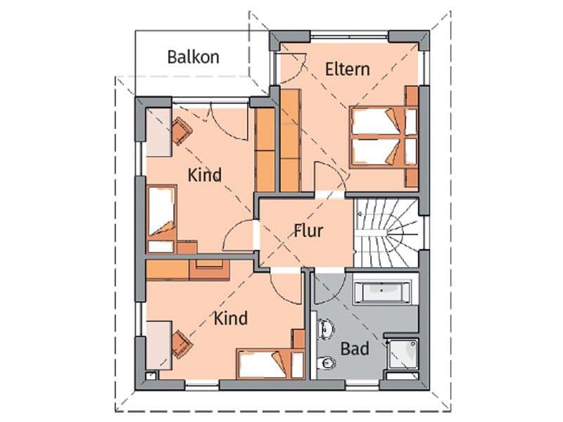 Grundriss Obergeschoss Entwurf Fino von Kern-Haus