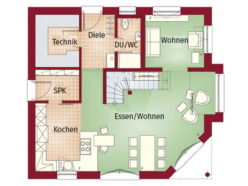 Grundriss Erdgeschoss Haus Ashford von Bien-Zenker