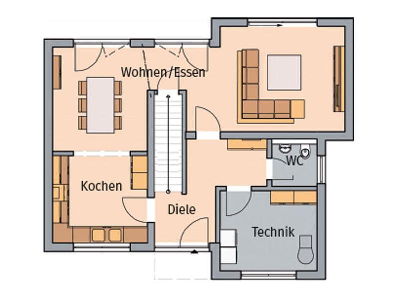 Grundriss Erdgeschoss Entwurf Modus von Kern-Haus