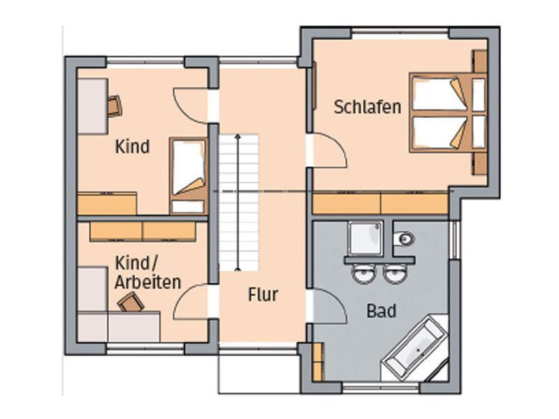 Grundriss Obergeschoss Entwurf Modus von Kern-Haus