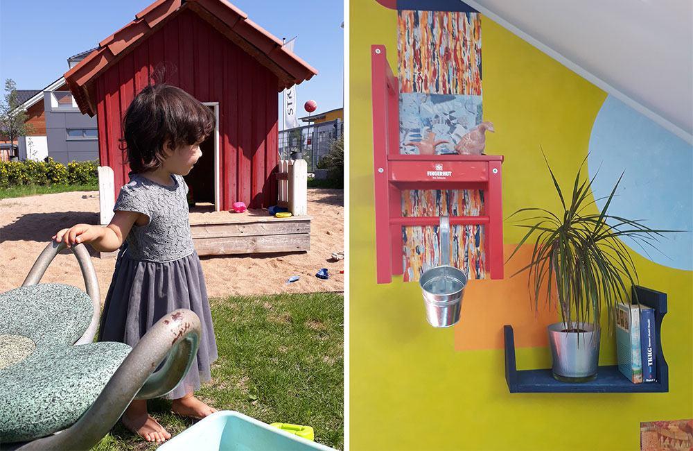 Spielplatz Fertighauswelt Nürnberg und Regal im Kinderzimmer von Fingerhut
