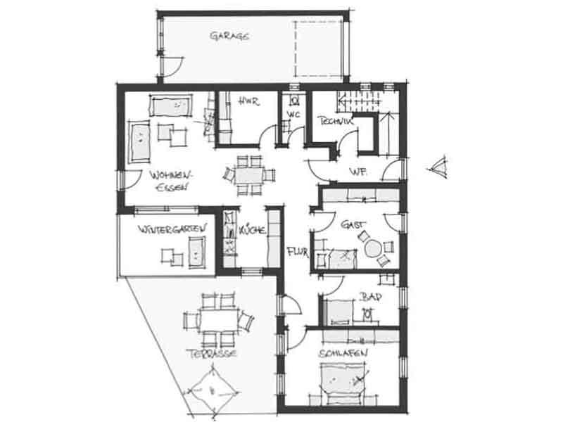 Grundriss Erdgeschoss Entwurf Landau von Wolf System