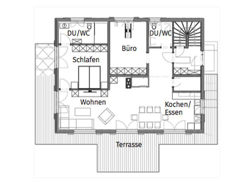 Grundriss Erdgeschoss Entwurf Innsbruck von Chiemgauer Holzhaus