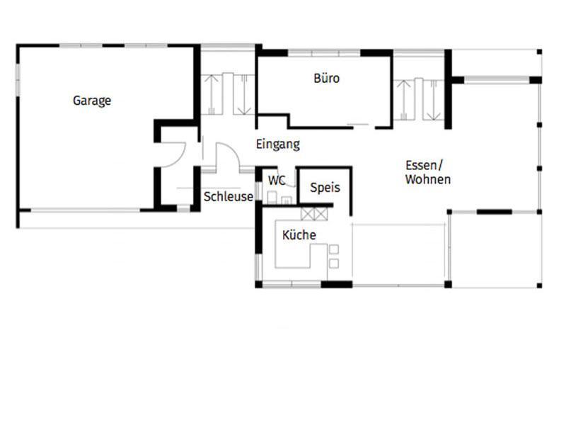 Grundriss Erdgeschoss Entwurf Homestory 308 von Lehner Haus