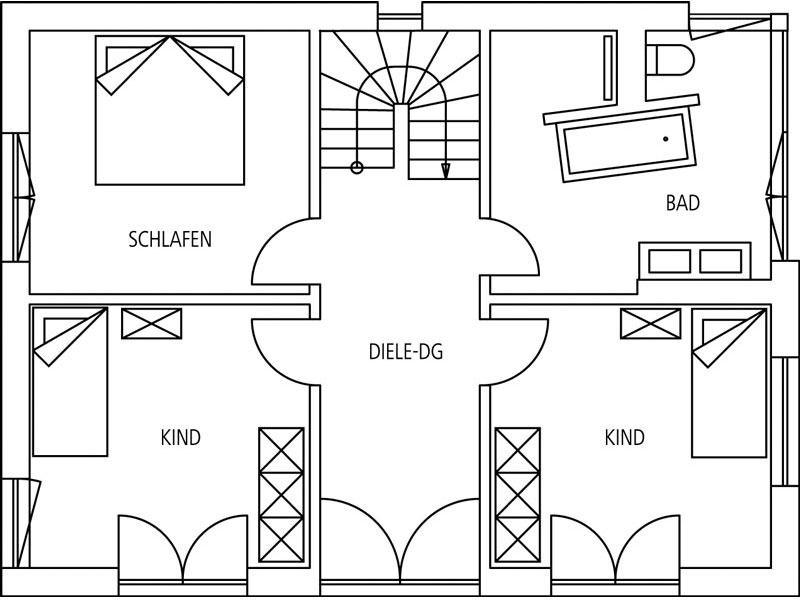 Grundriss Obergeschoss Entwurf Gauting von Regnauer