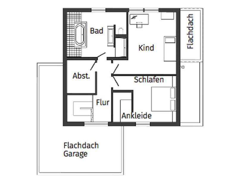 Grundriss Obergeschoss Kundenhaus Rimsa von Schwörerhaus
